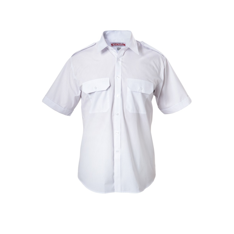 Foundations Poly Cotton Permanent Press  Short Sleeve Shirt with Epaulettes  WHITE